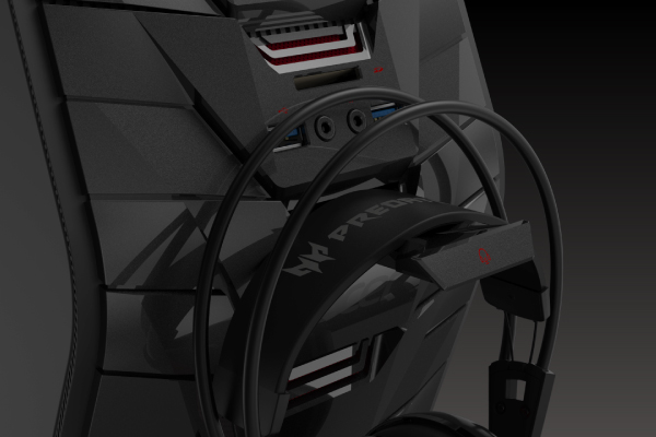 When you're not commanding your team or intimidating enemies, hang your headset on this convenient pop-out cradle.